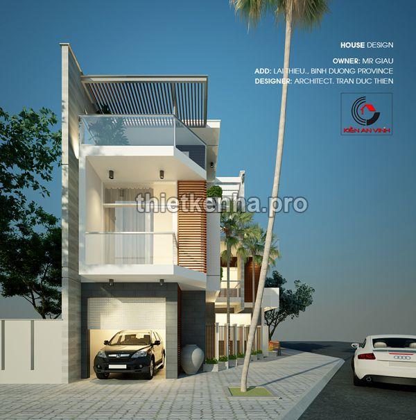 thiết kế nhà phố hai mặt tiền 03