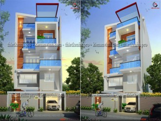 Thiết kế nhà phố đẹp hiện đại mặt tiền 8m tại Quận 12 MS: NP013