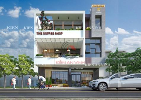 Mẫu thiết kế siêu thị mini kết hợp quán cafe